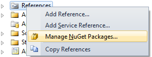 """Manage NuGet Packages"" context menu"