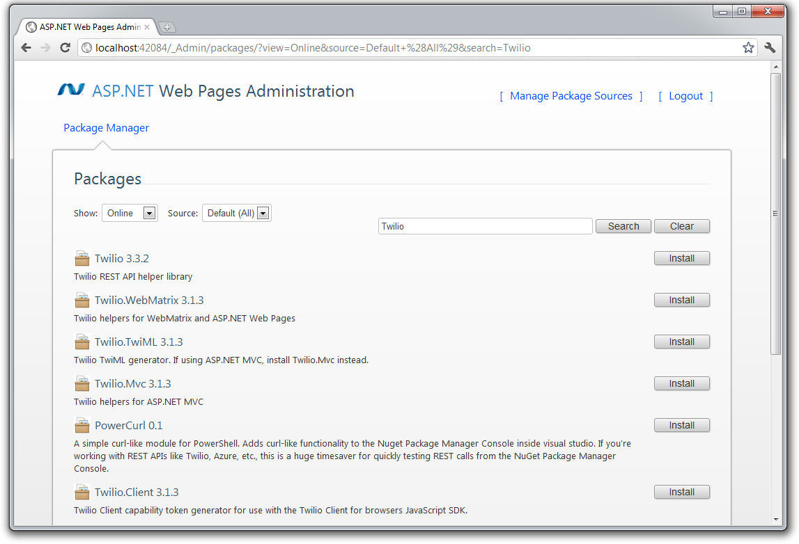WebMatrix Package Manager